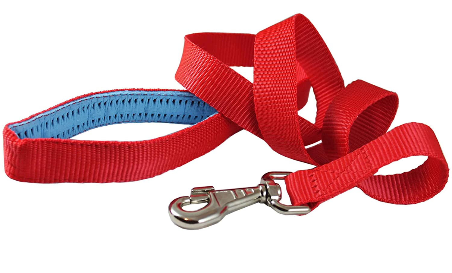 Dog Leash 1  Wide Nylon 4ft Length with Padded Handle Red Large