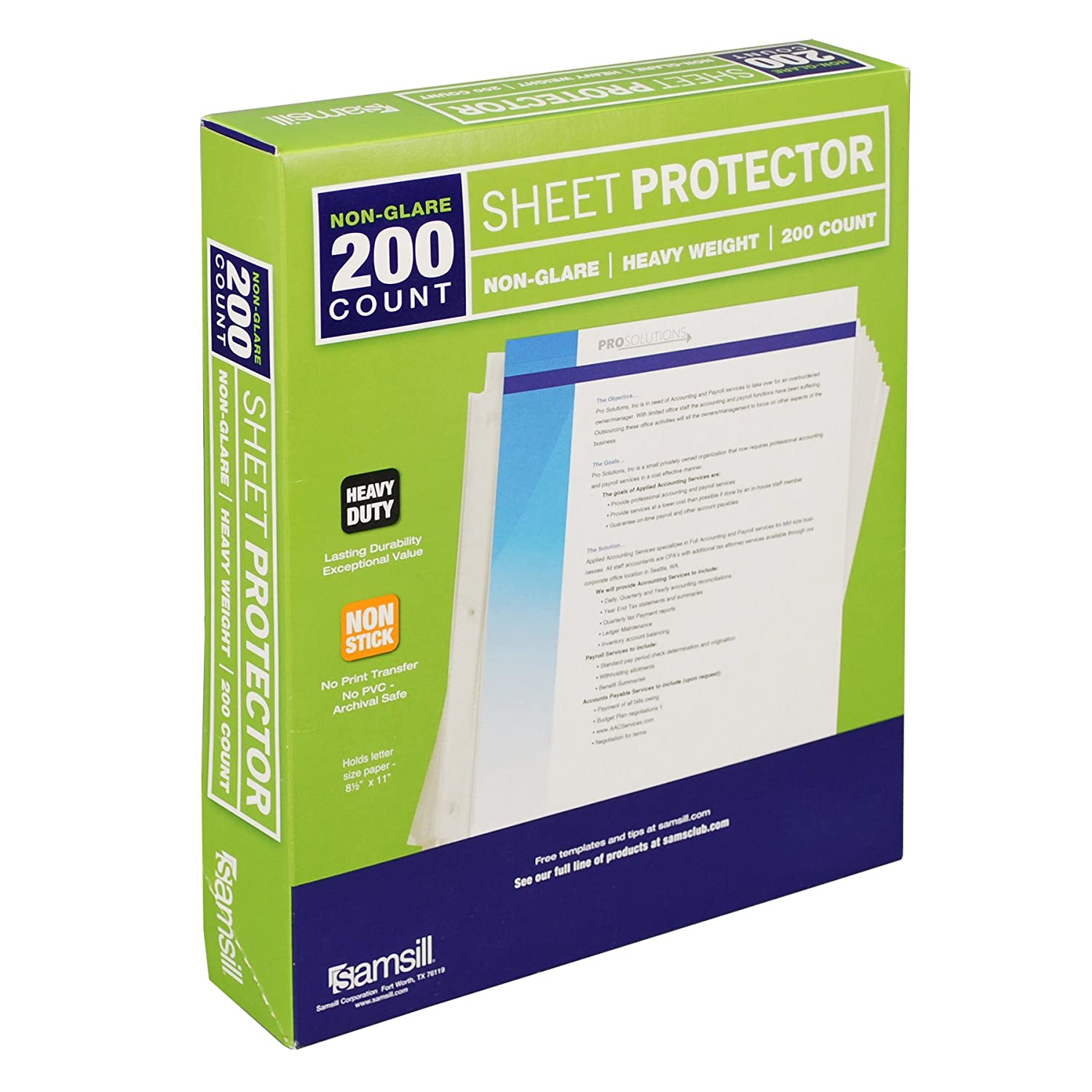 Samsill 200 Non-Glare Heavyweight Sheet Protectors, Reinforced 3 Hole Design Plastic Page Protectors, Archival Safe, Top Load for 8.5 x 11 Inch Sheets, Box of 200