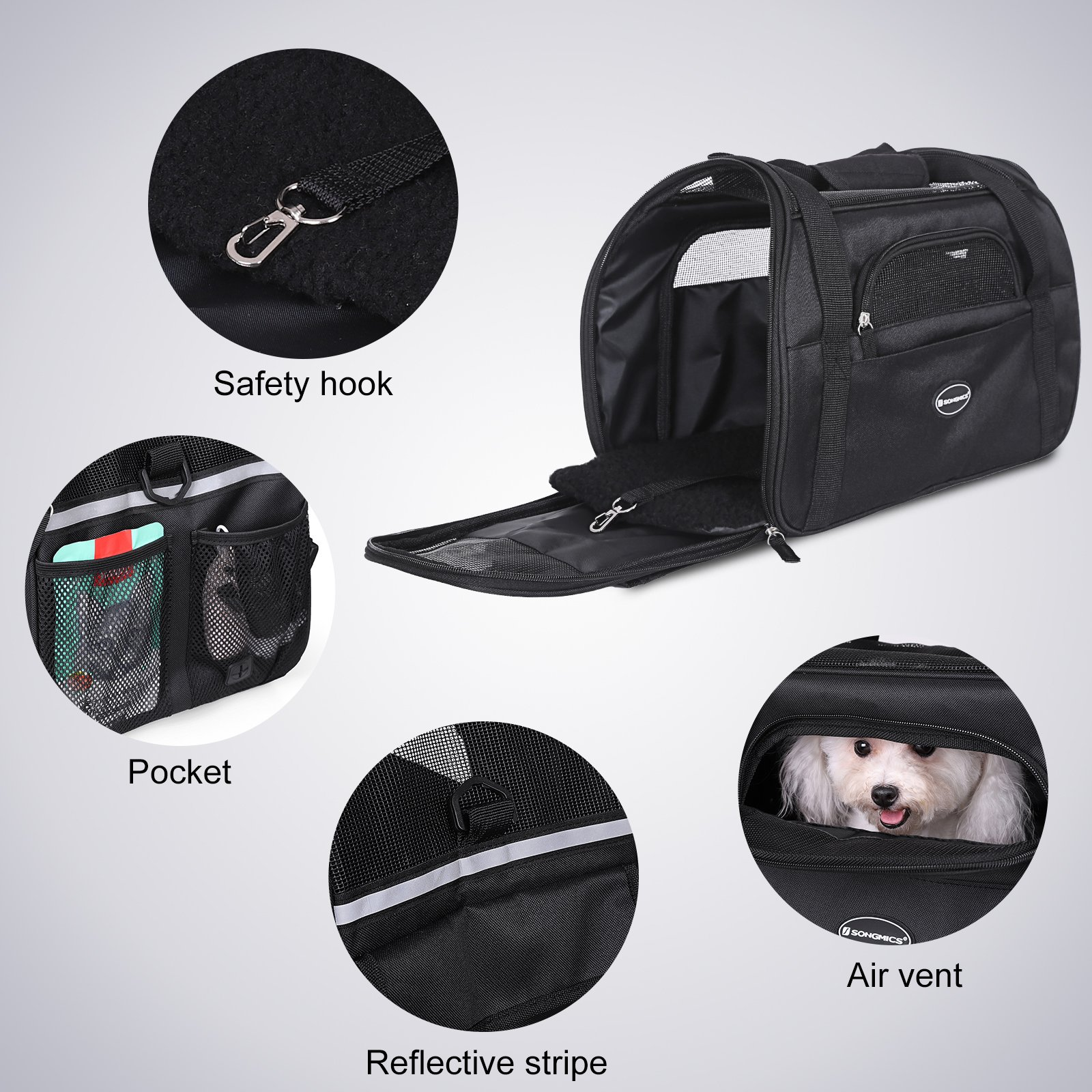 SONGMICS Foldable Pet Carrier, Soft-Sided, for Travel, Airline Approved, Small Dog/Cat Bags with Shoulder Strap, Garbage Bag Included UPDC42BK by SONGMICS (Image #5)