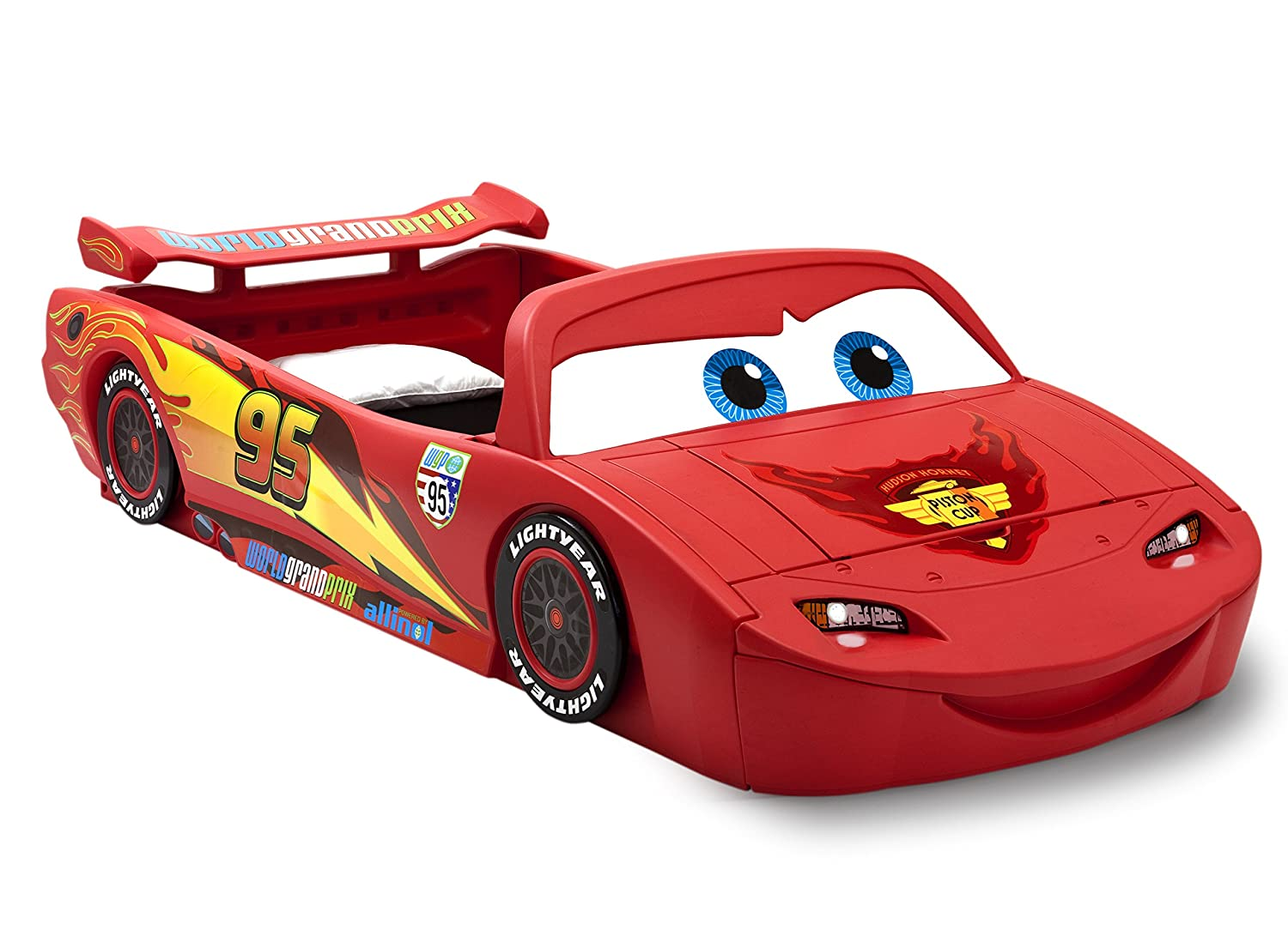 Amazon.com : Delta Children Cars Lightning Mcqueen Toddler To Twin Bed With  Lights And Toy Box, Disney/Pixar Cars : Baby