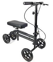 KneeRover Economy Knee Scooter Steerable Knee Walker Crutch Alternative with DUAL BRAKING SYSTEM in Matte Black