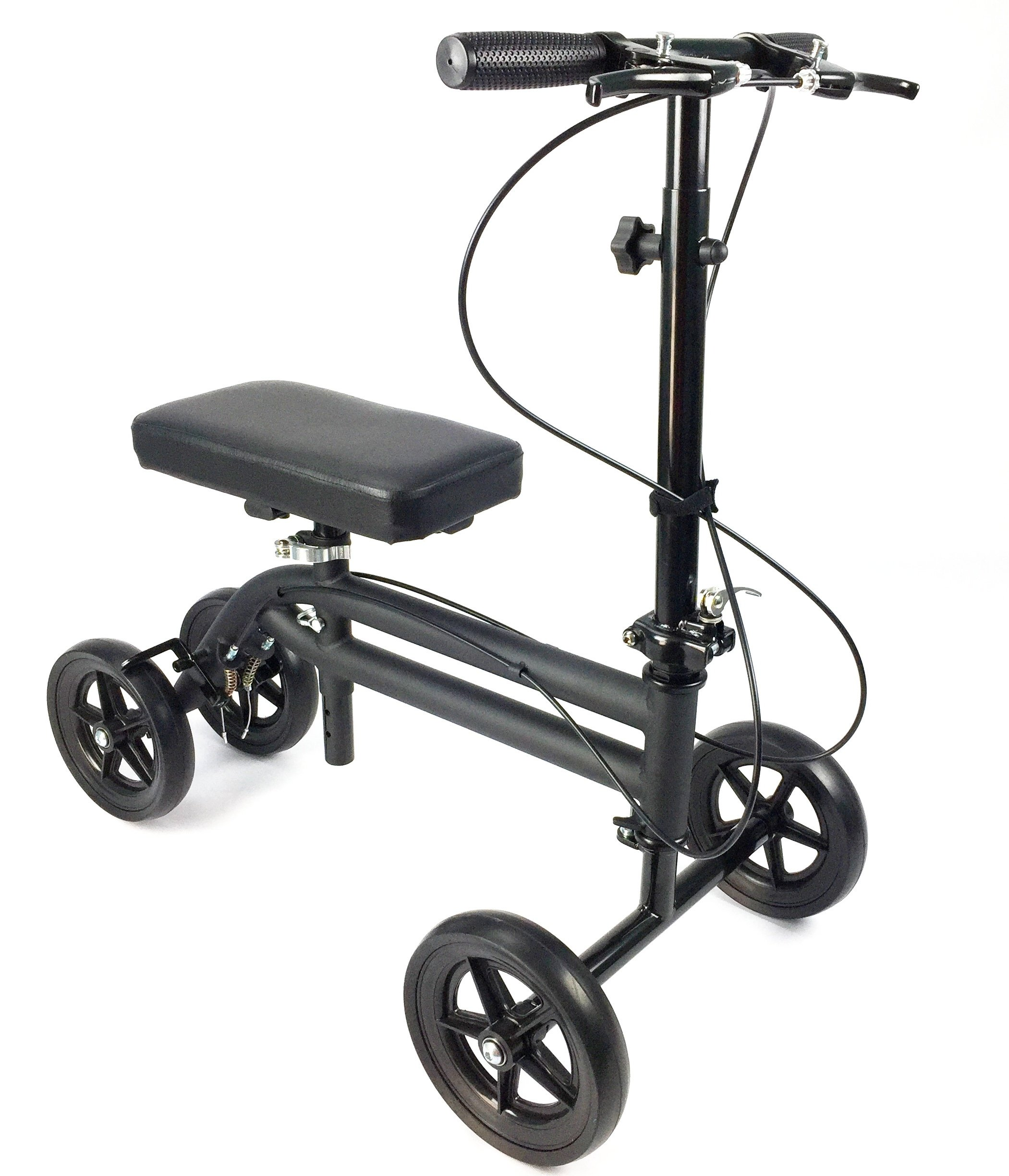 KneeRover Economy Knee Scooter Steerable Knee Walker Crutch Alternative with DUAL BRAKING SYSTEM in Matte Black by KneeRover