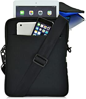 """product image for Turtleback Tablet Bag for iPad Pro and Other Tablets with Shoulder Strap Pouch Bag for Universal Tablets - Fits Devices up to 10.5"""" Inch with Cases - (Black/Blue), Made in USA"""