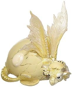 "Major-Q G8071529 5"" White Birthstone Dragon-October Statue Figurine Home Decor Sculptures Polyresin"
