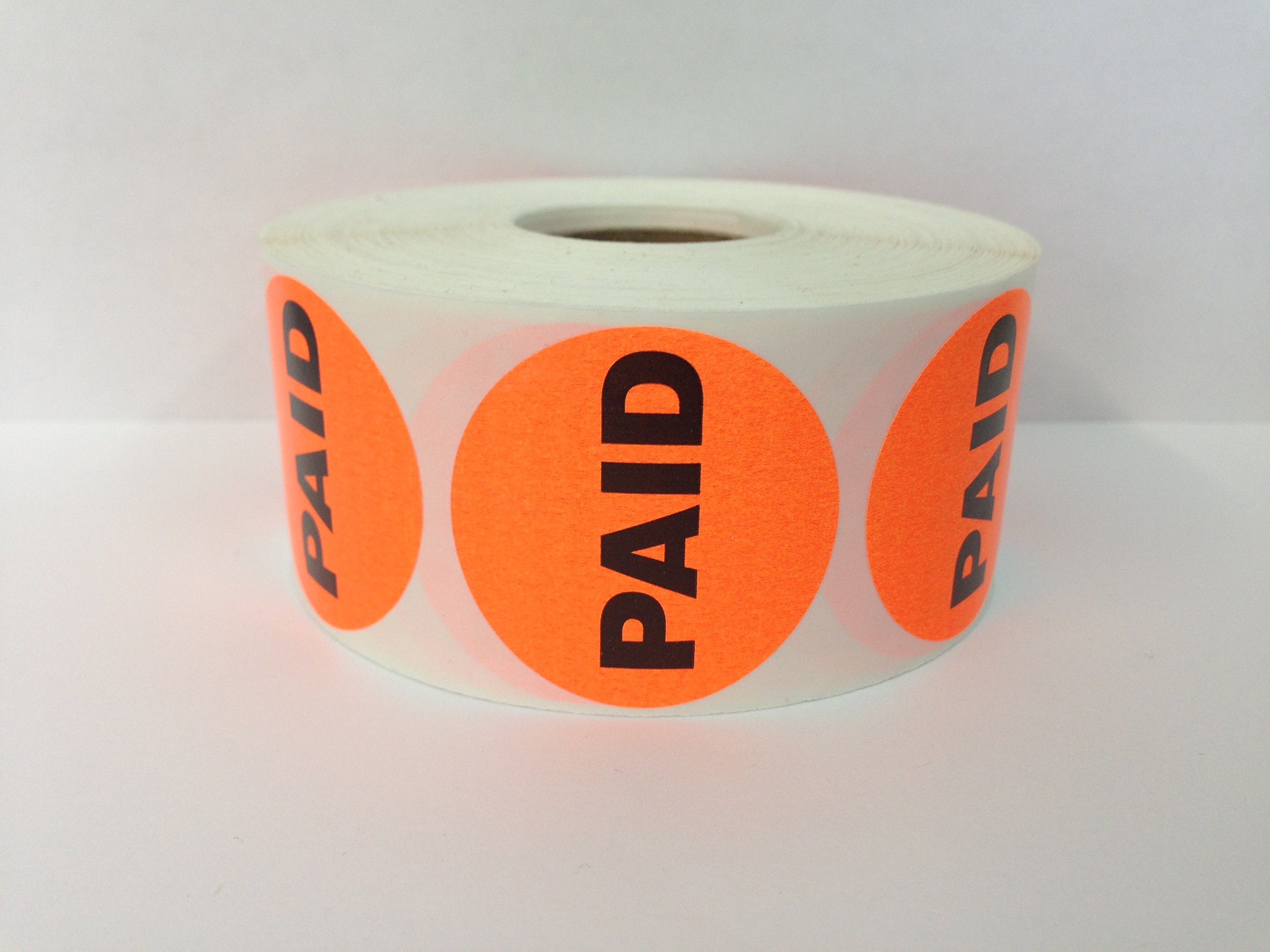 10,000 Labels 1.5'' Round Orange PAID Pricing Price Point Retail Stickers 10 Rolls