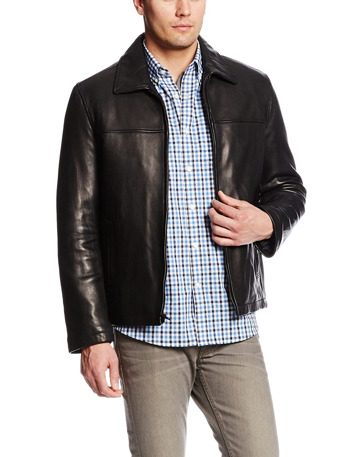 Tommy Hilfiger Men's Classic Leather Jacket with Shirt Collar at ...