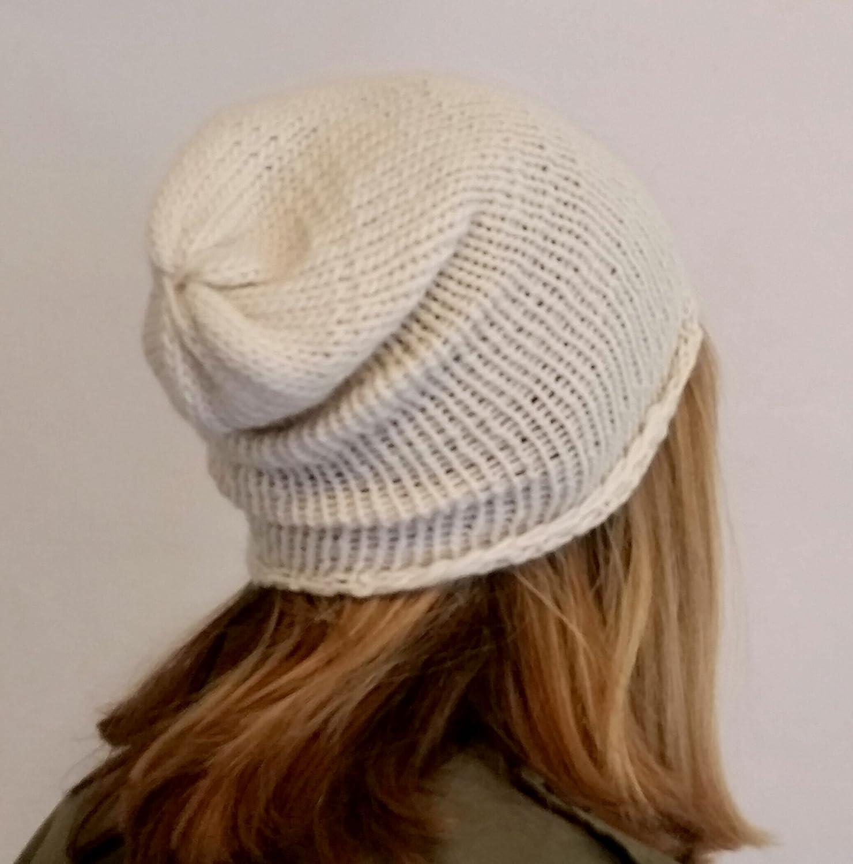 Lightweight Beanie Handmade Unisex White Organic Merino Wool Slouchy Hat