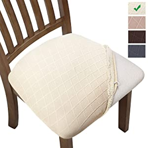 YISUN Stretch Spandex Chair Seat Covers,Removable Washable Anti-Dust Dining Chair Seat Protector Cushion Slipcovers (4, Beige)