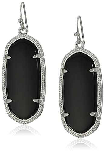 "faa096204 Kendra Scott ""Signature"" Elle Rhodium plated Black Glass Drop  Earrings"
