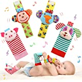 SSK Soft Baby Wrist Rattle Foot Finder Socks Set,Cotton and Plush Stuffed Infant Toys,Birthday Holiday Birth Present for Newb
