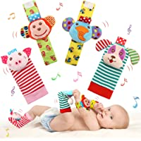 SSK Soft Baby Wrist Rattle Foot Finder Socks Set,Cotton and Plush Stuffed Infant Toys,Birthday Holiday Birth Present for…