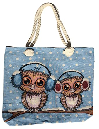 7a95d7e8b Canvas Tote Bag For Women, Canvas Owl Tote Bag with Zipper Closure, Large  Compartment