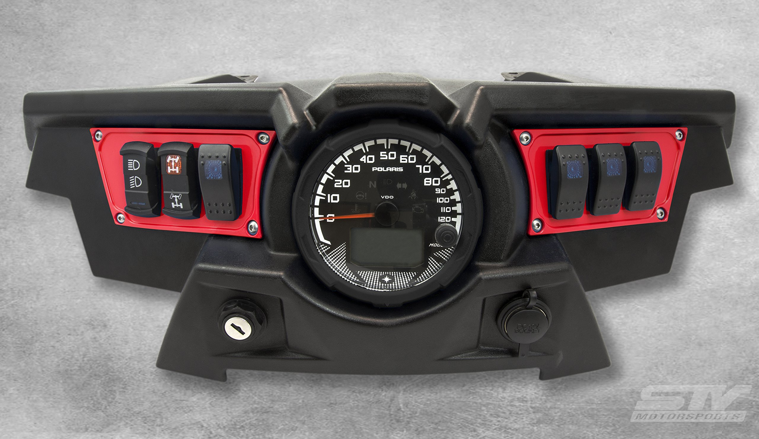 STV Motorsports Custom Aluminum Red Dash Panel for Polaris RZR XP 1000 with 4 Free Rocker Switches