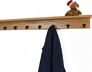 """product image for Solid Cherry Shelf Coat Rack with Aged Bronze Single Style Hooks (Natural, 37"""" with 7 hooks)"""