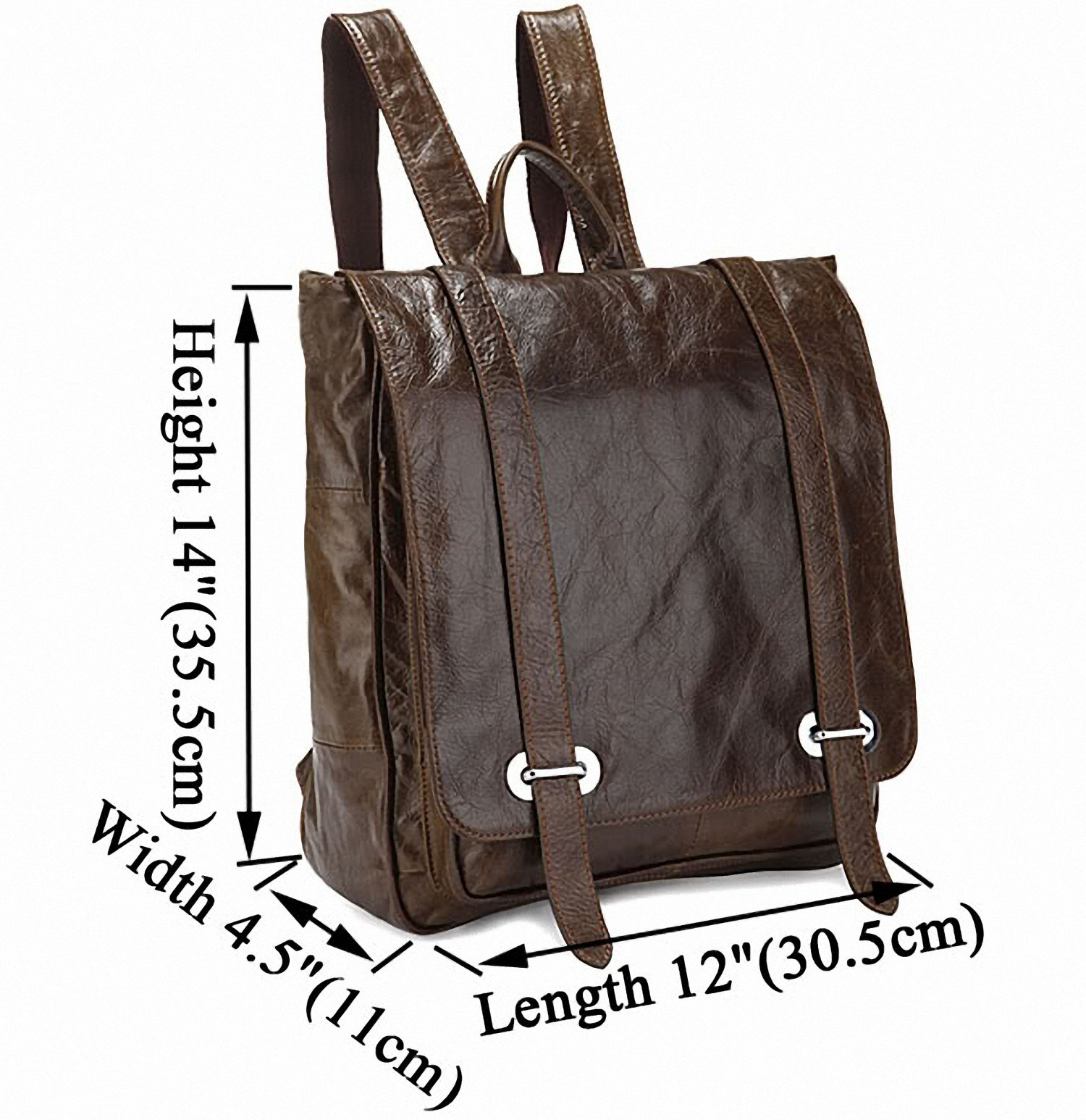 Tom Clovers Genuine Leather Unisex Leisure Handbag Backpack Coffee by Tom Clovers (Image #2)