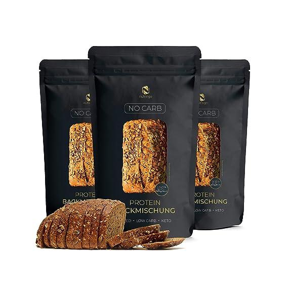 Mezcla para hornear pan de proteínas Sin Carb 3x200g. - 20% de contenido proteico | Sin carbohidratos | Sin cereales | Sin gluten | Para Paleo, Keto, ...