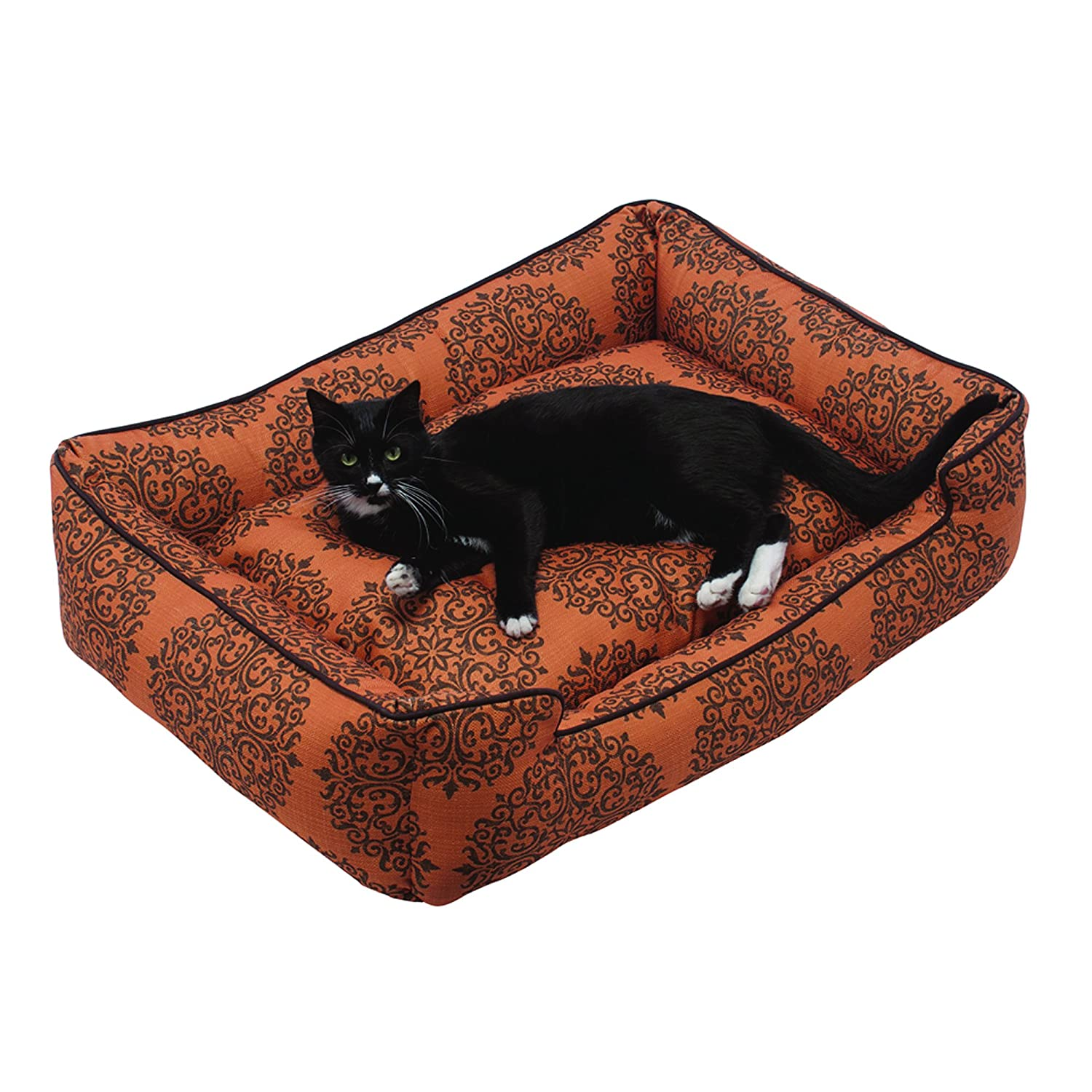 Milan orange X-Large 48x40x12 Milan orange X-Large 48x40x12 Jax & Bones Premium Cotton Blend Lounge Dog Bed, Milan orange, X-Large 48x40x12-Inch