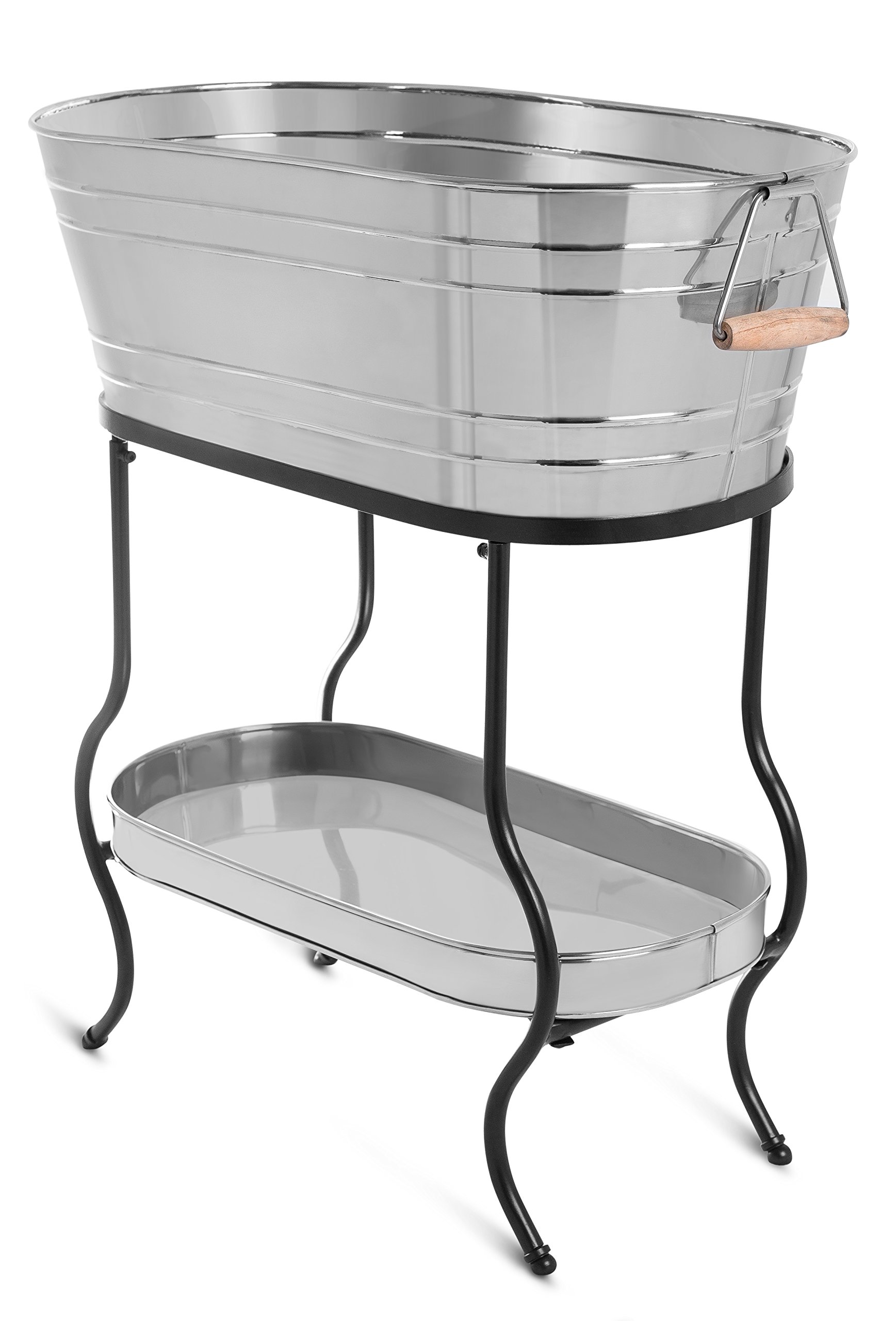 BirdRock Home Stainless Steel Beverage Tub with Stand - Oval - Bottom Tray - Party Drink Holder - Wooden Handles - Outdoor or Indoor Use - Free Standing by BIRDROCK HOME