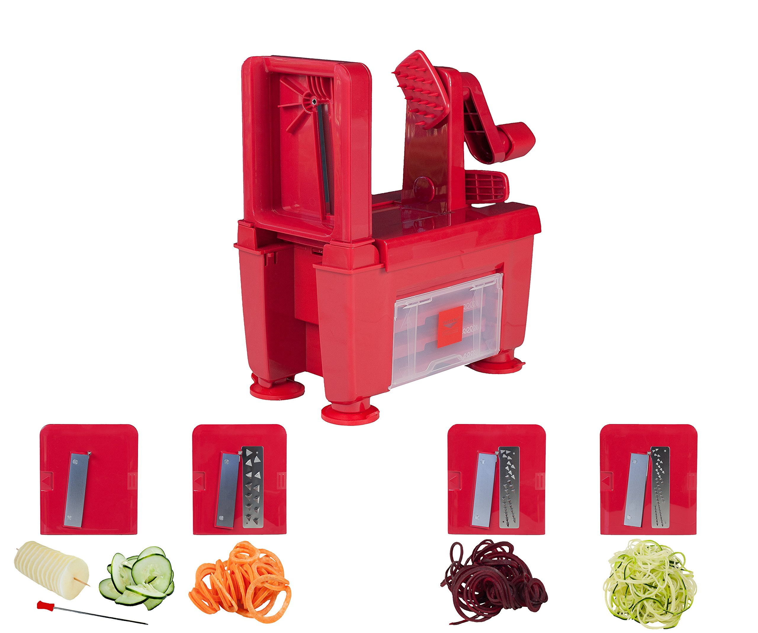 Paderno World Cuisine 4-Blade Folding Vegetable Slicer / Spiralizer Pro, Counter-Mounted and includes 4 Different Stainless Steel Blades, Red by Paderno World Cuisine