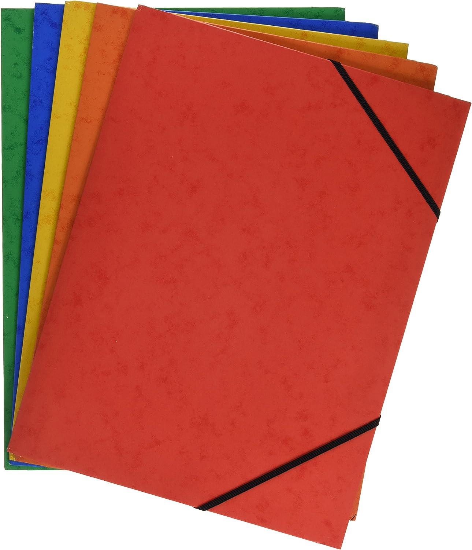 Grafoplás 98490199 Pack de 5 Carpetas de Cartón, A4 con Solapas y Cierre de Gomás Elásticas Cinco Colores Cartongraf XS, Colores Surtidos