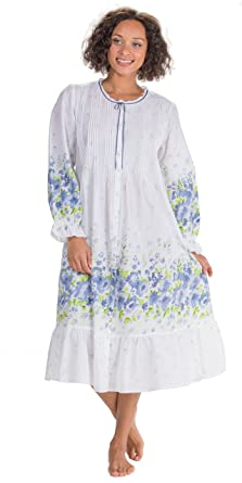 La Cera Button Front Long Cotton Robe Nightgown in Meadow Mist (Medium (10- 82c391f1f