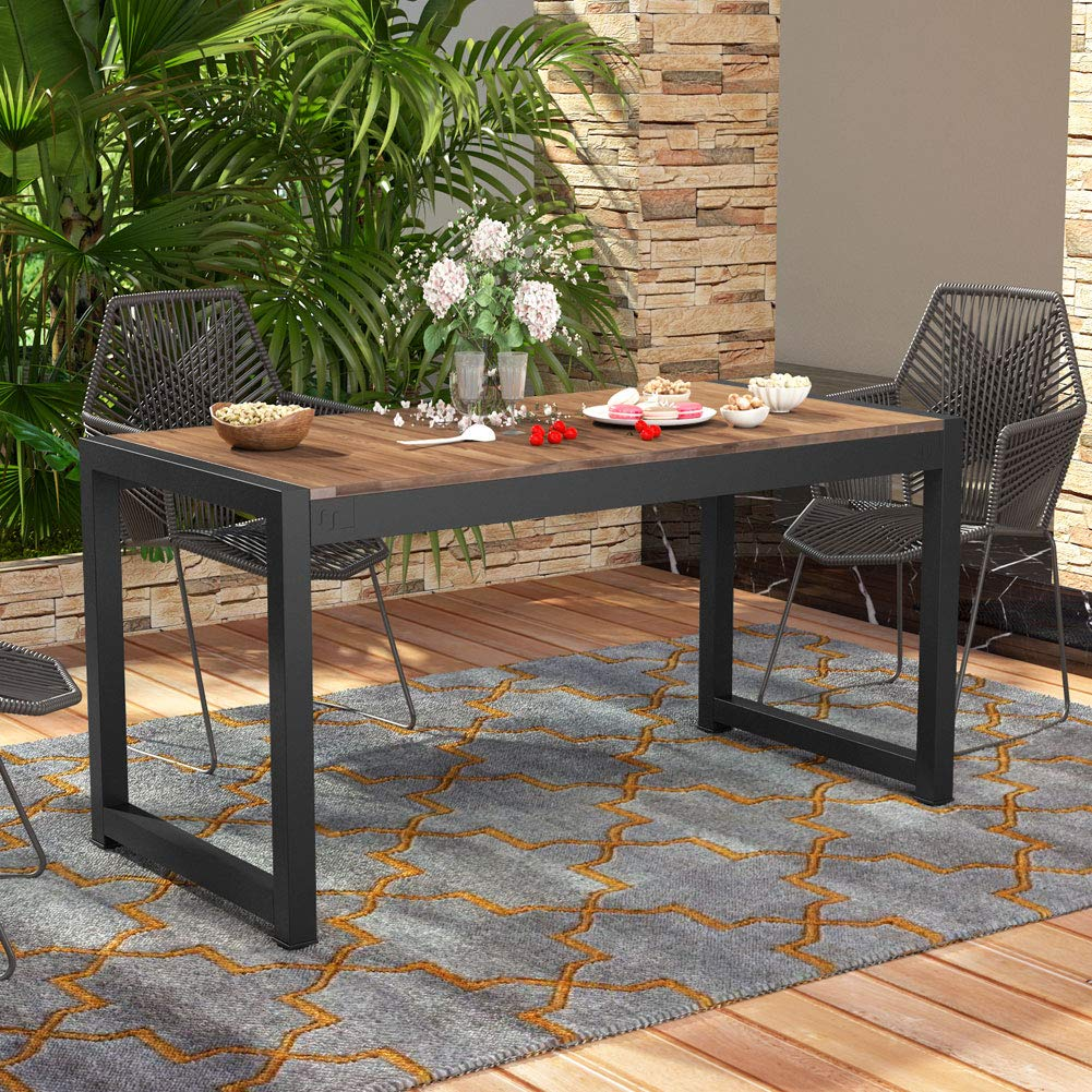 Tribesigns Solid Wood Dining Table, Outdoor Patio Dining Table Furniture with Metal Frame Perfect for Patio by Tribesigns