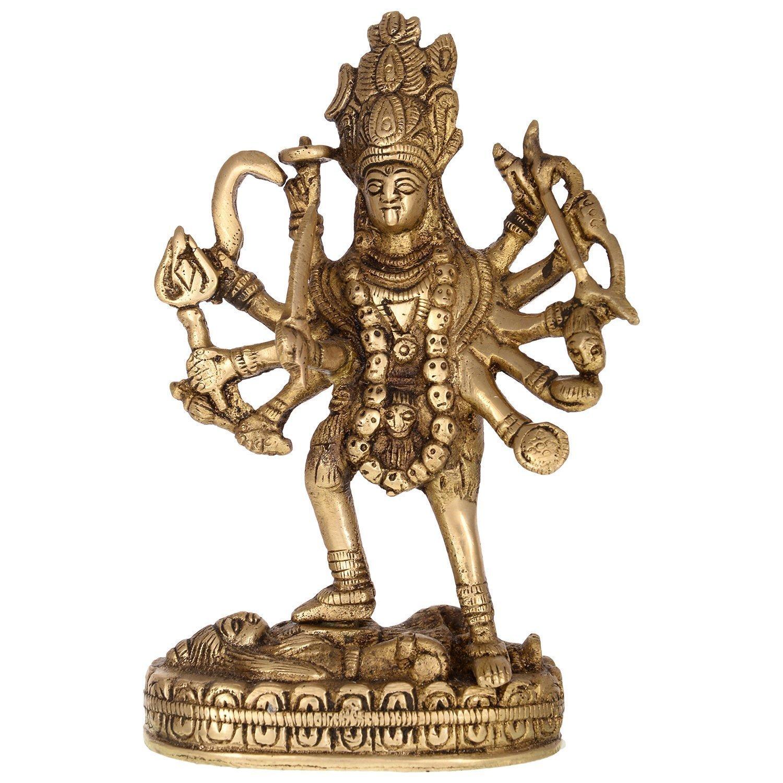 Exotic India Vzf751 Goddess Mahakali Brass Statue, 4'' x 2'' x 6'', Gold