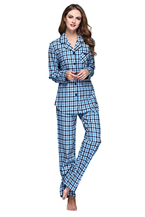1a1c27a965 Women s Cotton Plaid Pajamas Set Long Sleeve Button Down Flannel lounge  Sleepwear (XL