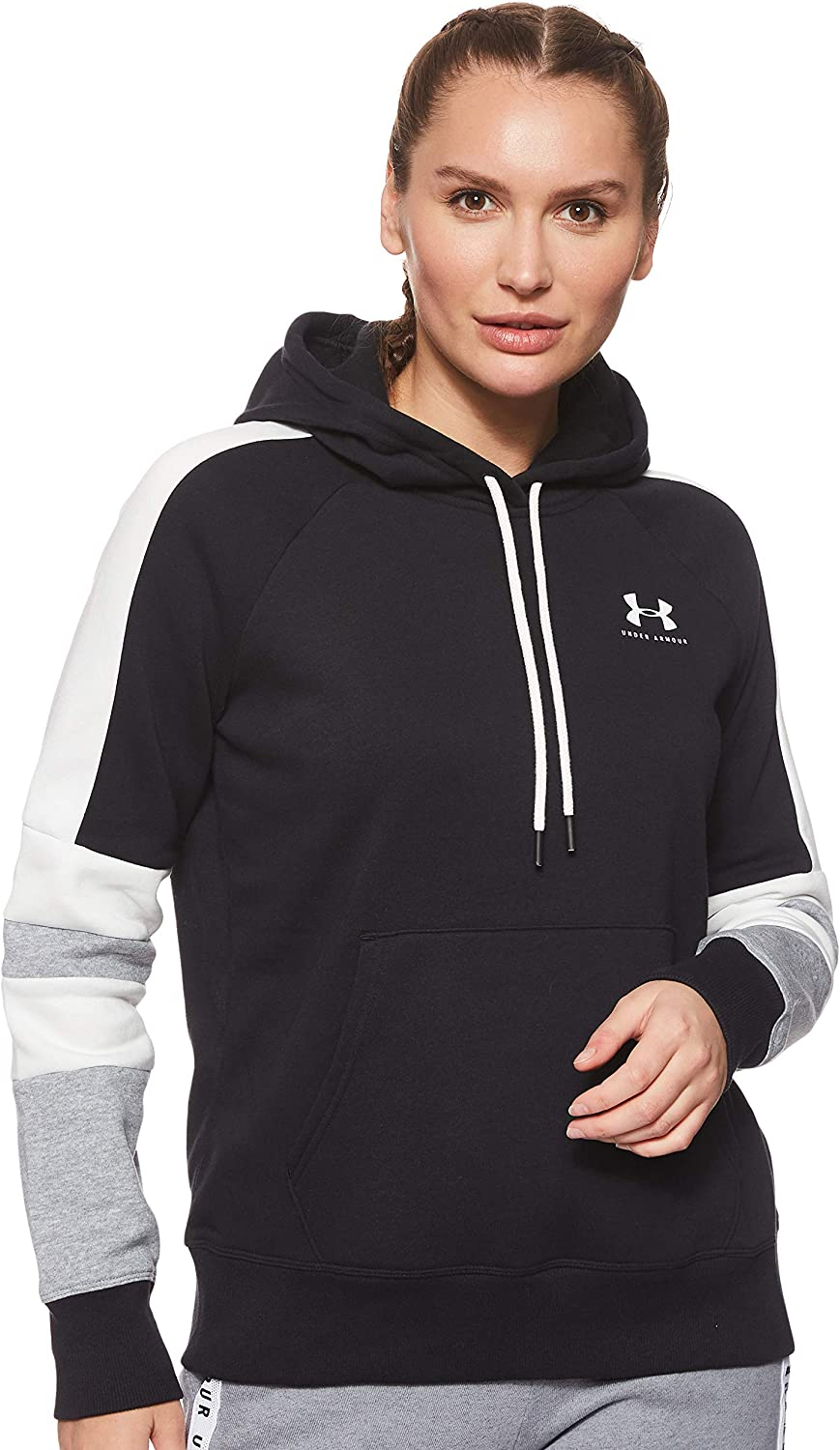 Under Armour Rival Print Logo Hoody Junior Grey//Pink