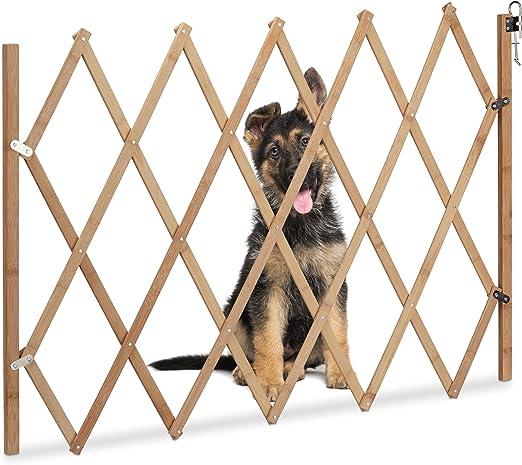 Relaxdays Barrera de Seguridad para Perros, Madera, para Puertas y escaleras, Ancho de 20-105 cm, Altura de 74 cm, Marrón, Hierro: Amazon.es: Productos para mascotas