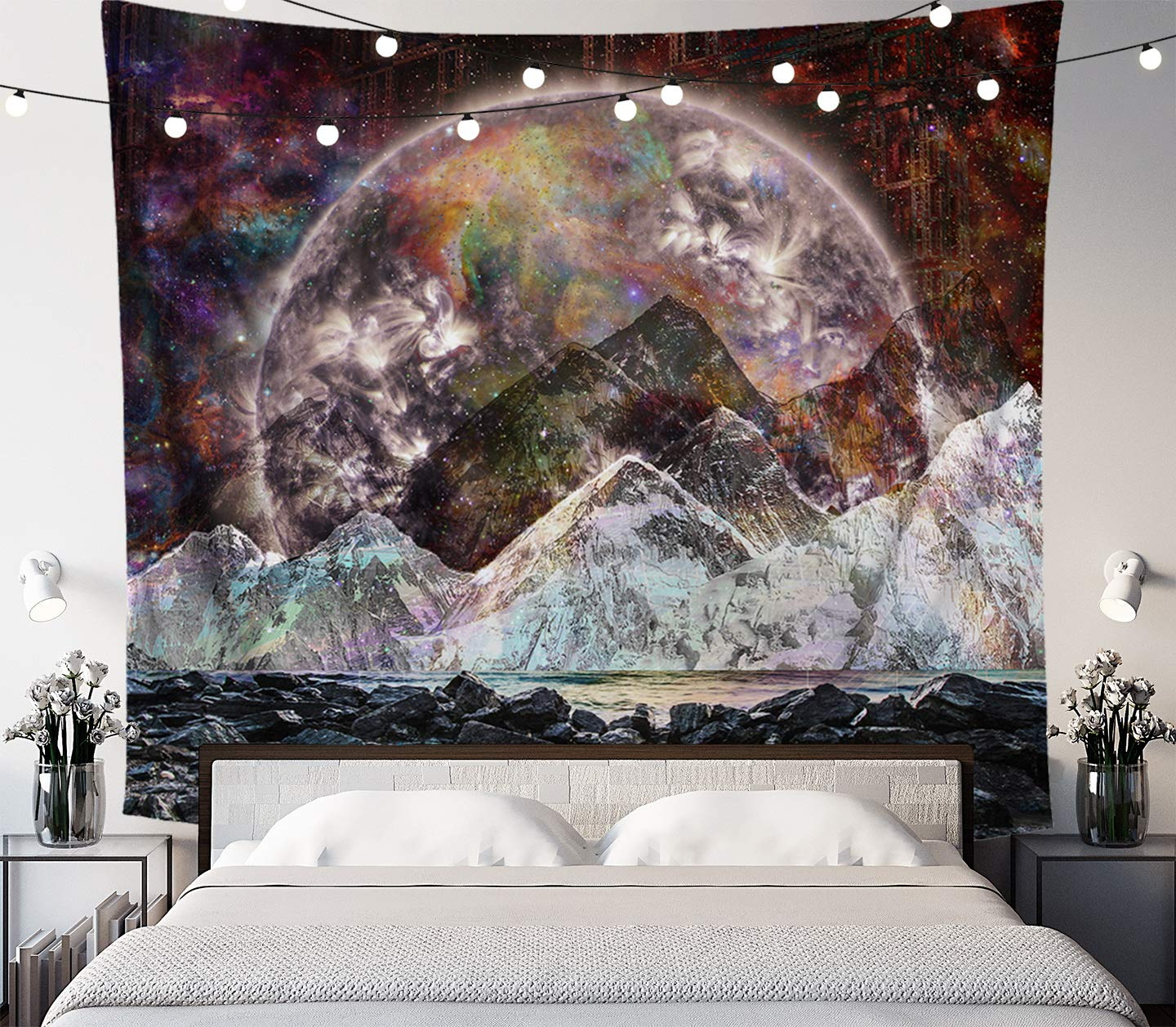Lucid Eye Studios Cosmic View Moon Tapestry- Galaxy Wall Art- Space Mountain Wall Tapestry- Dark Dorm Room Decor- Psychedelic Wall Hanging- Nature Zodiac Home Decor 84 x 72 inches