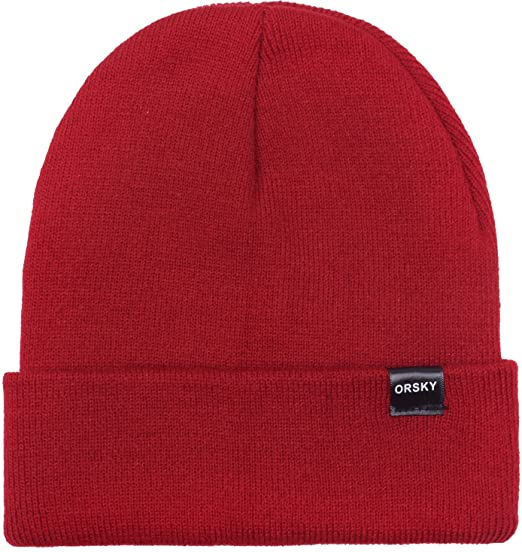 e028f7e235431 Amazon.com  Funny Beanie Hats for Boys Girls Winter Warm Caps for Kids Soft  Cuff Dark Red  Clothing