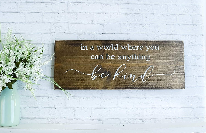 Dark Walnut Be Kind Sign Family Farmhouse Wooden Quote Wall Decor
