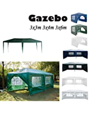 AutoBaBa 3M x 3M Gazebo Tent Marquee Canopy Powder Coated Steel Frame for Outdoor Wedding Garden Party Camping, with Side Panels, Waterproof,