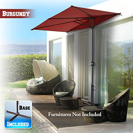 Superbe BenefitUSA Half Patio Umbrella Wall Balcony Halfrund Sunshade Market Yard  Garden Outdoor Parasol With Stand(