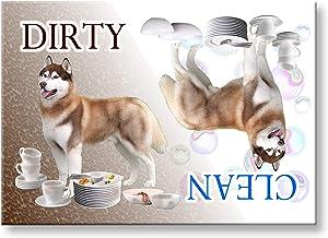 Siberian Husky Clean Dirty Dishwasher Magnet No 2