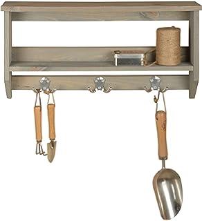 Esschert Design Wandregal mit Haken Holz Handtuchhalter Regal Ablage Werkzeug