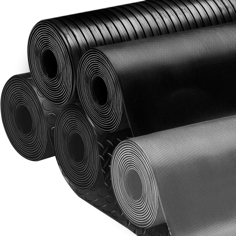 Rev/êtement de sol etm/® tapis caoutchouc antid/érapant r/ésistant 180x400cm isolant int/érieur ou ext/érieur tapis noir stri/é nombreux mod/èles et tailles