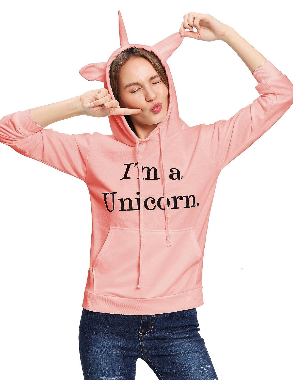 Romwe Womens Long Sleeve Kangaroo Pockets Slogan Letter Print Cute Cat Ear Pullover Hoodie