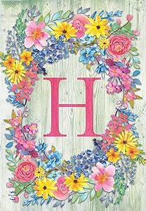 Briarwood Lane Spring Monogram Letter H Garden Flag Floral Wreath 12.5