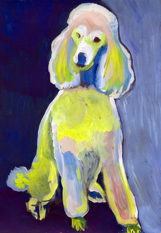 Amazon.com: Poodle Painting Art Print, Colorful Blue Yellow Poodle ...