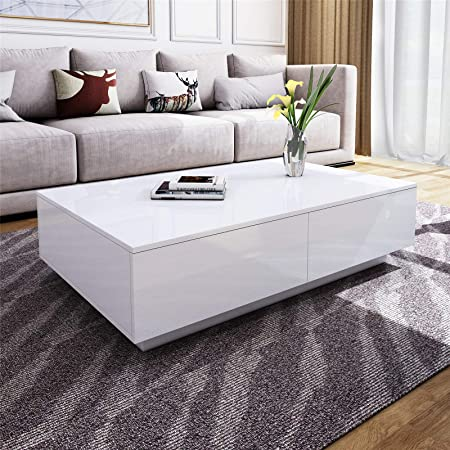 Modern Rectangle Coffee Table White High Gloss Coffee Table With 4