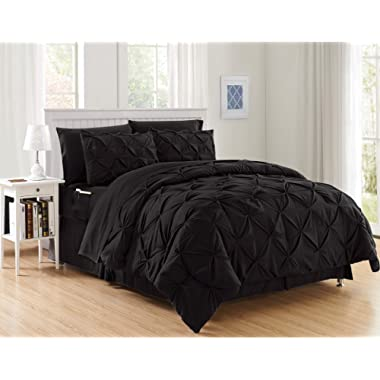 Luxury Best, Softest, Coziest 8-Piece Bed-in-a-Bag Comforter Set on Amazon! Elegant Comfort - Silky Soft Complete Set Includes Bed Sheet Set with Double Sided Storage Pockets, King/Cal King, Black