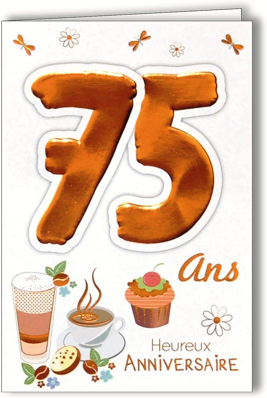 Age Mv 69 2041 Carte Anniversaire 75 Ans Homme Femme Motif Gateau Cupcake Chocolat Chaud Cafe The Amazon Fr Fournitures De Bureau
