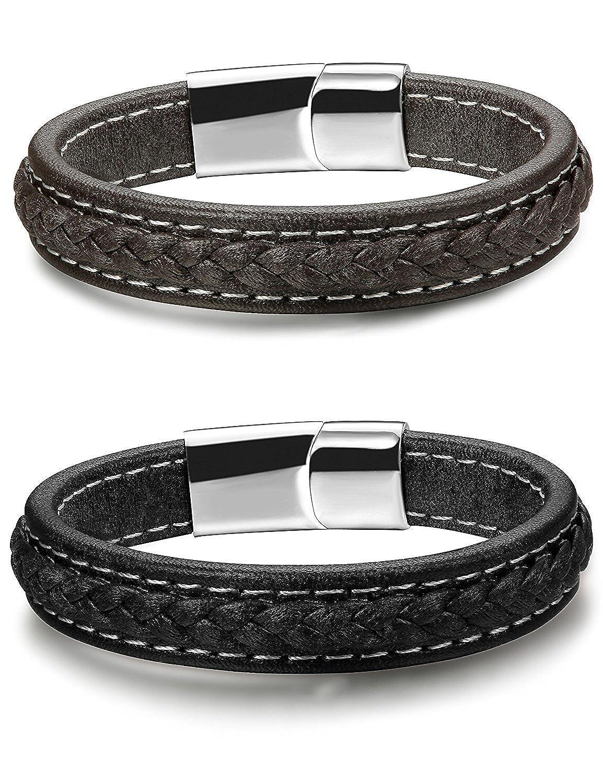 Besteel 2PCS Mens Leather Bracelets For Men Women Magnetic Braided Cuff Bracelet 19-21.5CM