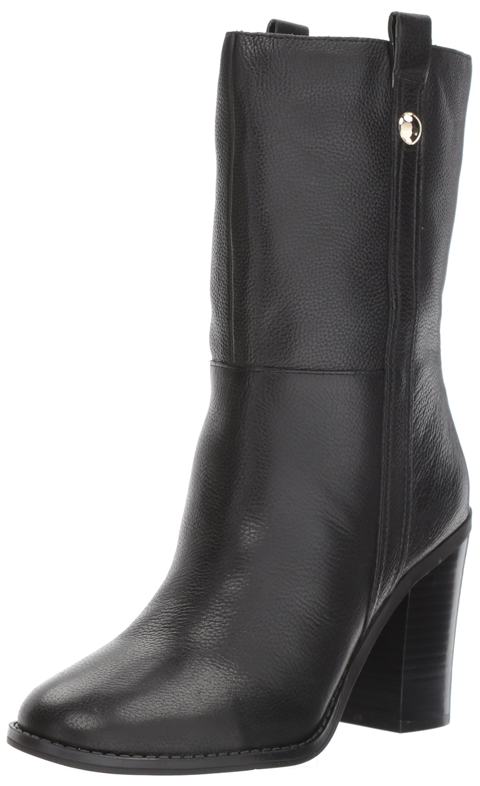 Nine West Women's Howl Leather Mid Calf Boot, Black Leather, 9 Medium US