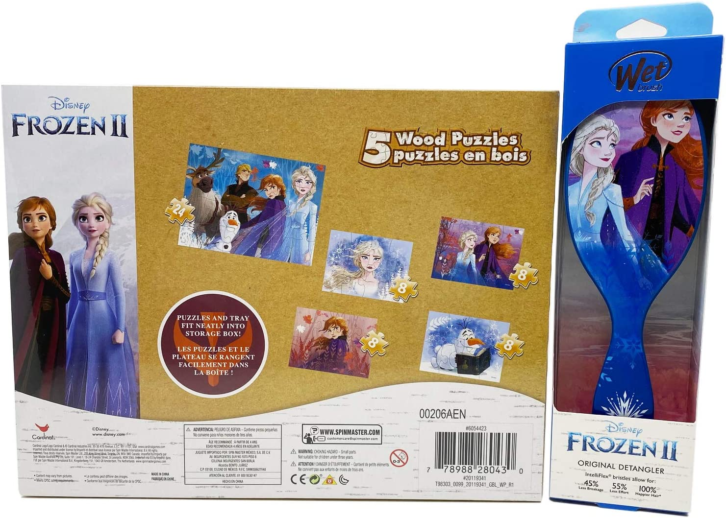 Puzzles for Kids Ages 3-5 Anna /& Elsa 5 Wood Puzzles in Storage Box /& Disney Wet Brush Original Detangler Disney Frozen 2 Puzzle /& Wet Brush Detangler Bundle