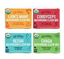 Four Sigmatic Organic Mushroom Elixir Mix - 4 Pack Variety with Cordyceps, Reishi, Chaga and Lion's Mane (4 Boxes, 20 Packets Each)