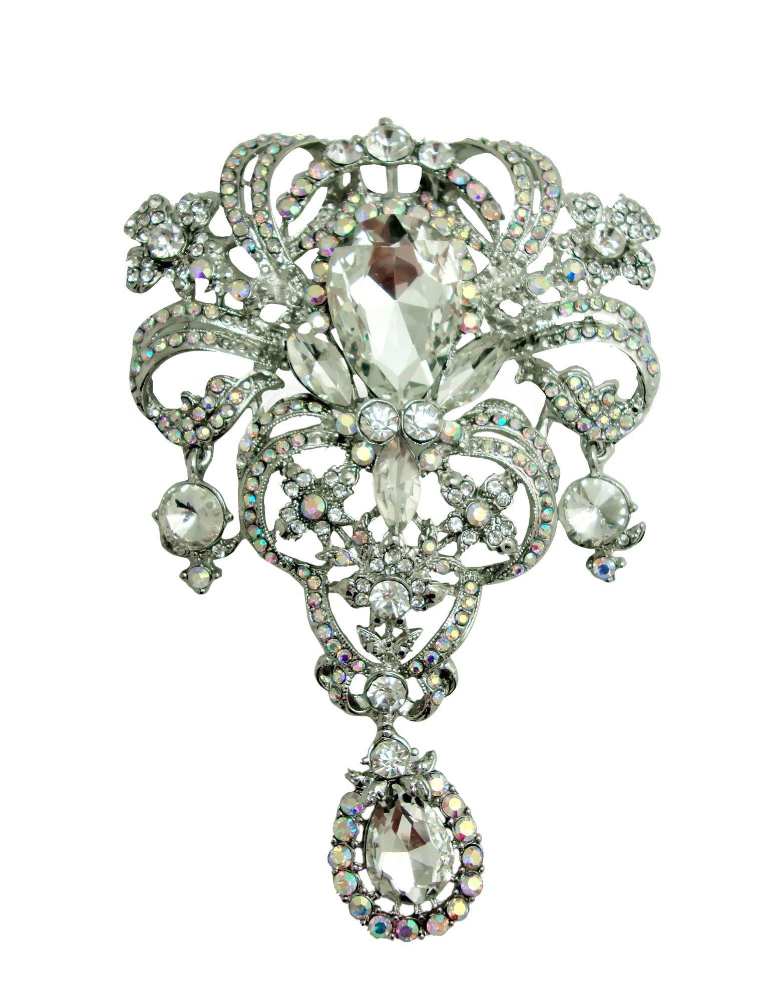 TTjewelry Classic Style Flower Drop Brooch Pin Rhinestone Crystal Pendant (White AB Silver-tone)