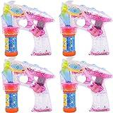 Partyjoker® 4 Stück Seifenblasenpistole mit LED   Sound   Flüssigkeit Seifenblasenmaschine Bubble Gun für Kinder Hochzeit Geschenk